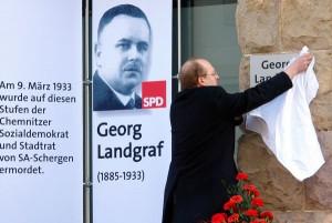 Enthüllung der gedenktafel für Georg Landgraf